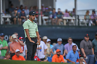 Abraham Ancer (MEX) watches his putt on 18 during round 4 of the Houston Open, Golf Club of Houston, Houston, Texas. 4/1/2018.<br /> Picture: Golffile | Ken Murray<br /> <br /> <br /> All photo usage must carry mandatory copyright credit (&copy; Golffile | Ken Murray)