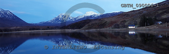 Tom Mackie, LANDSCAPES, panoramic, photos, Cottage on Loch Coultrie, Highland Region, Scotland, GBTM090006-1,#L#