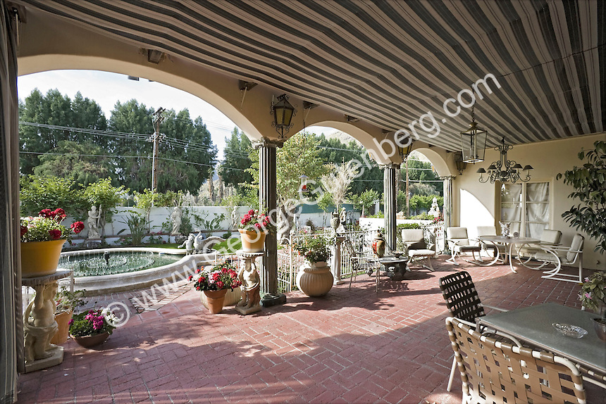 Covered patio at Liberace home