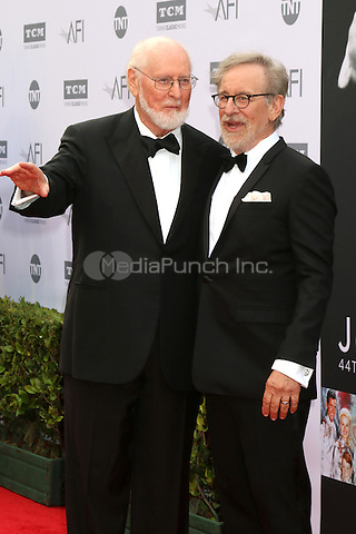 LOS ANGELES, CA - JUNE 9: John Williams, Steven Spielberg at the American Film Institute 44th Life Achievement Award Gala Tribute to John Williams at the Dolby Theater on June 9, 2016 in Los Angeles, California. Credit: David Edwards/MediaPunch