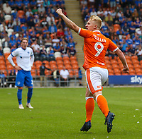Blackpool's Mark Cullen celebrates scoring his side's first goal <br /> <br /> Photographer Alex Dodd/CameraSport<br /> <br /> The EFL Sky Bet League One - Blackpool v Portsmouth - Saturday August 11th 2018 - Bloomfield Road - Blackpool<br /> <br /> World Copyright &copy; 2018 CameraSport. All rights reserved. 43 Linden Ave. Countesthorpe. Leicester. England. LE8 5PG - Tel: +44 (0) 116 277 4147 - admin@camerasport.com - www.camerasport.com