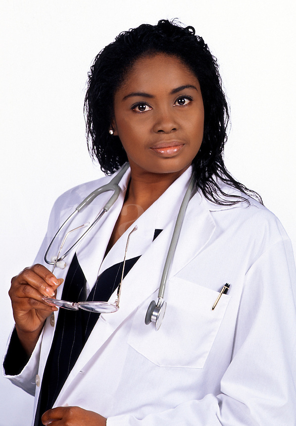 Portrait of an African American female medical doctor with glasses and stethoscope.