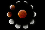 The December 21, 2010, total lunar eclipse from first umbral contact to totality.