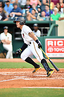 Northern Divisions catcher Dean Stafford (22) of the West Virginia Power swings at a pitch during the South Atlantic League All Star Game at First National Bank Field on June 19, 2018 in Greensboro, North Carolina. The game Southern Division defeated the Northern Division 9-5. (Tony Farlow/Four Seam Images)