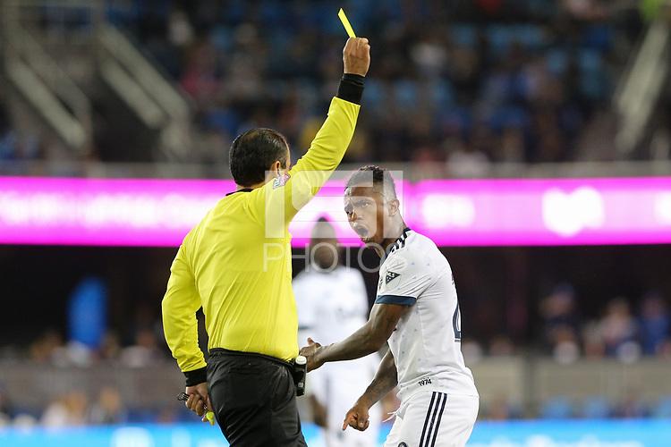 San Jose, CA - Saturday August 25, 2018: Yordy Reyna, Baldomero Toledo during a Major League Soccer (MLS) match between the San Jose Earthquakes and Vancouver Whitecaps FC at Avaya Stadium.