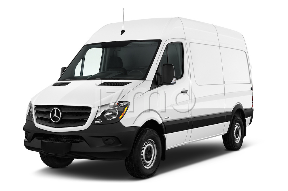 2016 Mercedes Benz Sprinter 2500-144-WB-High-Roof 4 Door Cargo Van Angular Front stock photos of front three quarter view