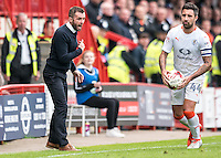 Nathan Jones Manager of Luton Town screams instructions  during the Sky Bet League 2 match between Crawley Town and Luton Town at the Broadfield/Checkatrade.com Stadium, Crawley, England on 17 September 2016. Photo by Edward Thomas / PRiME Media Images.