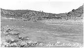 Upstream view of the Old Santa Fe bridge ruins at Embudo, NM.<br /> D&amp;RG  Embudo, NM