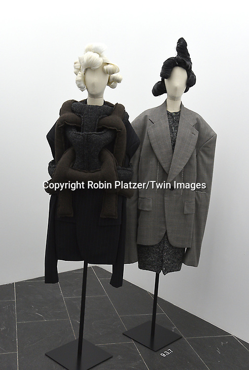 The Clothing  at the Press Preview of Rei Kawakubo/Comme des Garcons: Art of the In-Between exhibit at The Costume Institute at the Metropolitan Museum of Art on May 1, 2017 in New York, New York, USA. <br /> <br /> photo by Robin Platzer/Twin Images<br />  <br /> phone number 212-935-0770