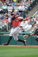 Altoona Curve outfielder Keon Broxton (53) during game against the Trenton Thunder at ARM & HAMMER Park on August 6, 2014 in Trenton, NJ.  Trenton defeated Altoona 7-3.  (Tomasso DeRosa/Four Seam Images)