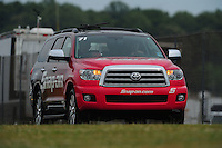 May 13, 2011; Commerce, GA, USA: The Toyota Sequoia tow vehicle for NHRA funny car driver Cruz Pedregon during qualifying for the Southern Nationals at Atlanta Dragway. Mandatory Credit: Mark J. Rebilas-