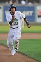 Clinton LumberKings Rayder Ascanio (13) swings during the Midwest League game against the Beloit Snappers at Ashford University Field on June 11, 2016 in Clinton, Iowa.  The LumberKings won 7-6.  (Dennis Hubbard/Four Seam Images)