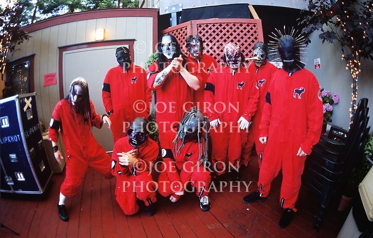 Various portrait sessions of the rock band, Slipknot