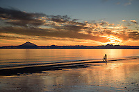 The sun paints a beautiful scene from its descent behind the Aleutian Range as a man walks his bike along the shoreline at Kenai Beach in south central Alaska.