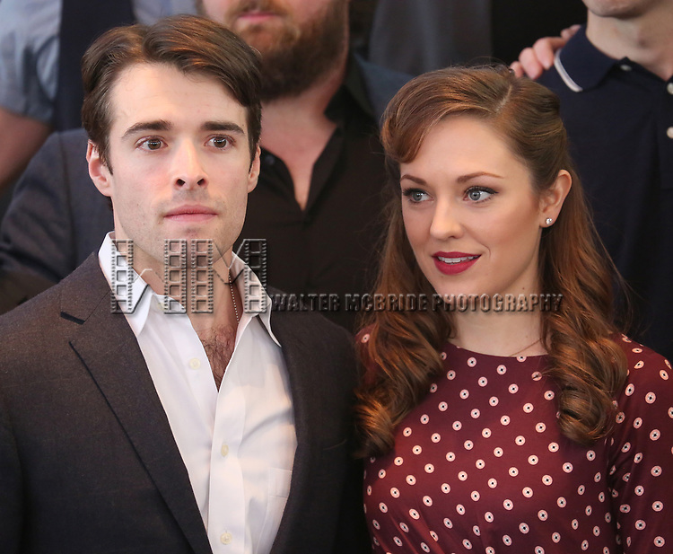 Corey Cott and Laura Osnes attend the 'Bandstand' Broadway cast photo call at the Rainbow Room on March 7, 2017 in New York City.