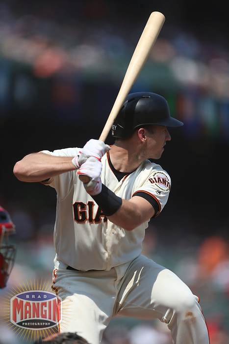 SAN FRANCISCO, CA - SEPTEMBER 2:  Buster Posey #28 of the San Francisco Giants bats against the St. Louis Cardinals during the game at AT&T Park on Saturday, September 2, 2017 in San Francisco, California. (Photo by Brad Mangin)