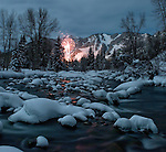 Winterskol fireworks in Aspen, Colorado. Roaring Fork River.