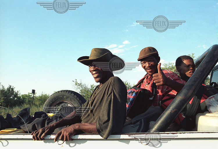 Bushmen communities of the Central Kalahari Game Reserve return to their ancestral land after winning the court case against the Botswana government who illegally evicted them in 2002.