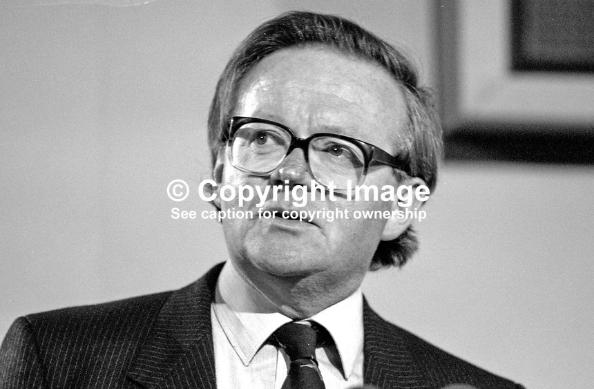 John MacGregor, MP, Conservative Party, Minister of Agriculture, UK,  on platform at annual conference, 19871033JMG.<br />