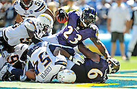 Sep. 20, 2009; San Diego, CA, USA; Baltimore Ravens running back (23) Willis McGahee falls into the end zone for a touchdown against the San Diego Chargers at Qualcomm Stadium in San Diego. Baltimore defeated San Diego 31-26. Mandatory Credit: Mark J. Rebilas-