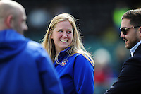 Bath Rugby Head Performance Analyst Kate Burke looks on prior to the match. Aviva Premiership match, between Bath Rugby and Sale Sharks on April 23, 2016 at the Recreation Ground in Bath, England. Photo by: Patrick Khachfe / Onside Images