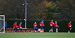 The seven Rangers goalkeepers being put through their paces by coach Jim Stewart