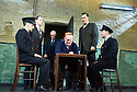 Hangmen by Martin McDonagh, directed by Matthew Dunster. With Ryan Pope as Guard, Reece Shearsmith as Syd, Simon Rouse as Governor, Josef Davies as Hennessey,David Morrissey as Harry, Graeme Hawley as Guard. Opens at The Royal Court Jerwood Theatre Downstairs on 18/9/15. CREDIT Geraint Lewis