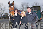HUNT: Katie Mangan(Knocknagoshel), Louise Harrington (tarbert) and Danny O'Rahilly (Knocknagoshel) getting g ready for the North Kerry Hunt in Abbeydorney on Sunday........... . ............................... ..........