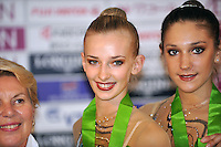 September 12, 2009; Mie, Japan;  (L-R) Anzhelika Savrayuk and Giulia Galtarossa of Italian rhythmic group win gold in group All Around at the 2009 World Championships Mie, Japan.  Photo by Tom Theobald .