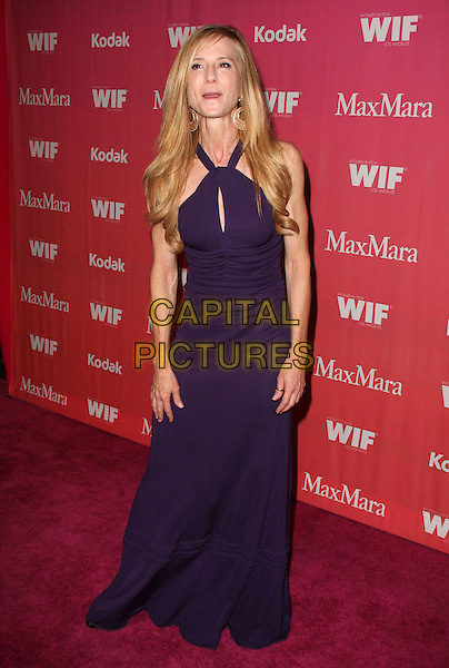 HOLLY HUNTER.2009 Women in Film Crystal + Lucy Awards Arrivals held at Hyatt Regency Hotel, Century City, California, USA..June 12th, 2009.full length purple long maxi dress halterneck cut out skinny thin mouth open funny face veins.CAP/ADM/KB.©Kevan Brooks/AdMedia/Capital Pictures.