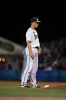 Hillsboro Hops relief pitcher Travis Moths (10) during a Northwest League game against the Salem-Keizer Volcanoes at Ron Tonkin Field on September 1, 2018 in Hillsboro, Oregon. The Salem-Keizer Volcanoes defeated the Hillsboro Hops by a score of 3-1. (Zachary Lucy/Four Seam Images)