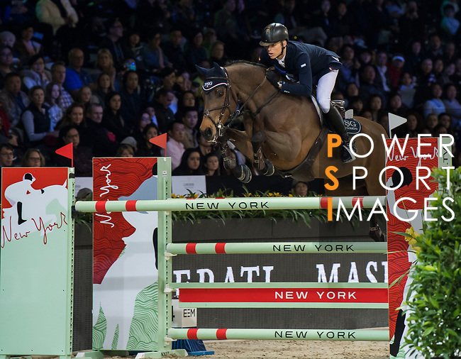 Max Kuhner of Austria riding PSG Future competes in the Masters One DBS during the Longines Masters of Hong Kong at AsiaWorld-Expo on 11 February 2018, in Hong Kong, Hong Kong. Photo by Diego Gonzalez / Power Sport Images