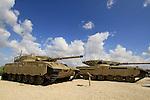 Israel, Shephelah, Merkava tanks at the Armored Corps Memorial Site and Museum at Latrun