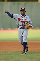 Mycal Jones Shortstop Danville Braves (Atlanta Braves) fields and throws at Joe O'Brien Stadium August 17, 2009 in Elizabethton, TN (Photo by Tony Farlow/Four Seam Images)