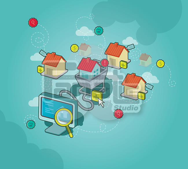 Conceptual image of online shopping for house