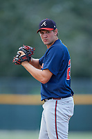 GCL Braves relief pitcher Zach Becherer (26) gets ready to deliver a pitch during a game against the GCL Pirates on July 26, 2017 at Pirate City in Bradenton, Florida.  GCL Braves defeated the GCL Pirates 12-5.  (Mike Janes/Four Seam Images)