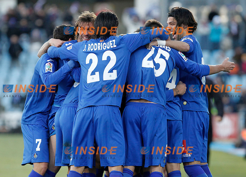 Getafe's players celebrate goal during La Liga match.December 01,2012. (ALTERPHOTOS/Acero) .Getafe 1/12/2012.Football Calcio 2012/2013 La Liga.Getafe Vs Malaga.Foto Alterphotos / Insidefoto.ITALY ONLY