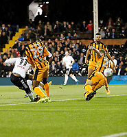 Floyd Ayité of Fulham shoots on the turn during the Sky Bet Championship match between Fulham and Hull City at Craven Cottage, London, England on 13 September 2017. Photo by Carlton Myrie.