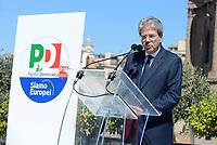 Roma, 30 Marzo 2019<br /> Paolo Gentiloni.<br /> Il Partito Democratico presenta il simbolo per le elezioni europee del 26 Maggio