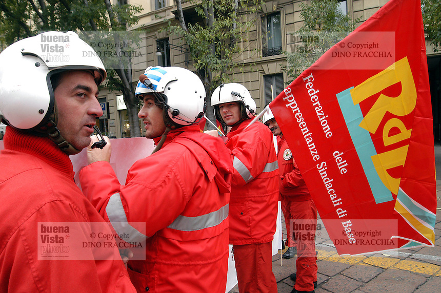 -  demonstration of COBAS, base labor unions, protest of ..firefighters, helicopter pilots....- manifestazione dei COBAS, sindacati di base, protesta dei Vigili del Fuoco, piloti elicotteristi