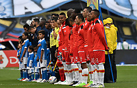 BOGOTA - COLOMBIA - 16 – 07 - 2017: Los jugadores de Millonarios y el Independiente Santa Fe, durante partido de la fecha 2 entre Millonarios y el Independiente Santa Fe, por la Liga Aguila II-2017, jugado en el estadio Nemesio Camacho El Campin de la ciudad de Bogota. / The players of Millonarios and Independiente Santa Fe, during a match of the date 2nd between Millonarios and Independiente Santa Fe, for the Liga Aguila II-2017 played at the Nemesio Camacho El Campin Stadium in Bogota city, Photo: VizzorImage / Luis Ramirez / Staff.