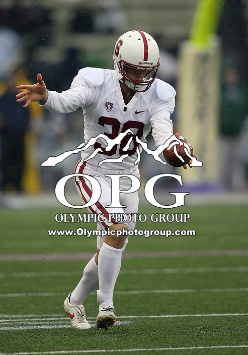 Oct 30, 20010:  Stanford punter #38 David Green warms up before the game against Washington.  Stanford defeated Washington 41-0 at Husky Stadium in Seattle, Washington.   .