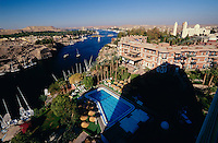 Assuan. Old Cataract Hotel, Nile, Coptic Cathedral (r.), Elephantine Island (l.) seen from New Cataract Hotel.