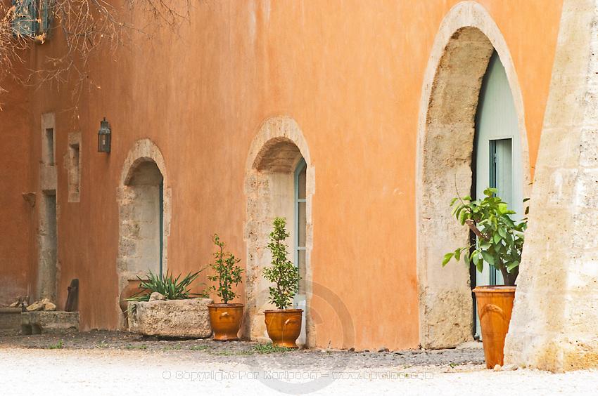 Prieure de St Jean de Bebian. Pezenas region. Languedoc. In the garden. The main building. France. Europe.
