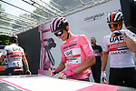 Maglia Rosa Jan Polanc (SLO) UAE Team Emirates at sign on before the start of Stage 13 of the 2019 Giro d'Italia, running 196km from Pinerolo to Ceresole Reale (Lago Serrù), Italy. 24th May 2019<br /> Picture: Gian Mattia D'Alberto/LaPresse | Cyclefile<br /> <br /> All photos usage must carry mandatory copyright credit (© Cyclefile | Gian Mattia D'Alberto/LaPresse)