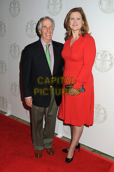Henry Winkler, Sarah Brown.Women's Guild Annual Spring Luncheon 2012 held at the Beverly Hills, Beverly Hills, California, USA..April 12th, 2012.full length dress black clutch bag red suit jacket pink shirt green tie grey gray trousers .CAP/ADM/BP.©Byron Purvis/AdMedia/Capital Pictures.
