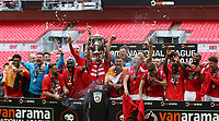Salford City lift the trophy after the AFC Fylde vs Salford City, Vanarama National League Play-Off Final Football at Wembley Stadium on 11th May 2019