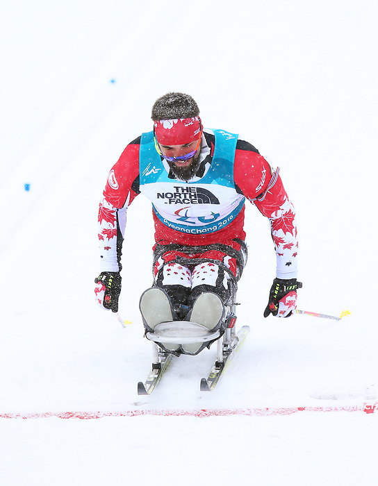 Pyeongchang, Korea, 16/3/2018-Collin Cameron competes in the biathlon and wins bronze during the 2018 Paralympic Games in PyeongChang.  Photo Scott Grant/Canadian Paralympic Committee.