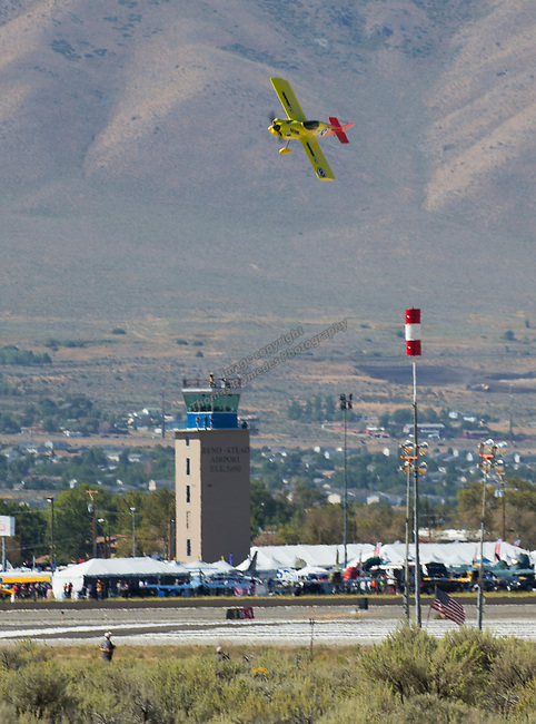 "Steve Temple from Stateline, NV pilots ""Heat Stroke"" (8)during the National Championship Air Races in  Reno, Nevada on Saturday, Sept. 14, 2019."