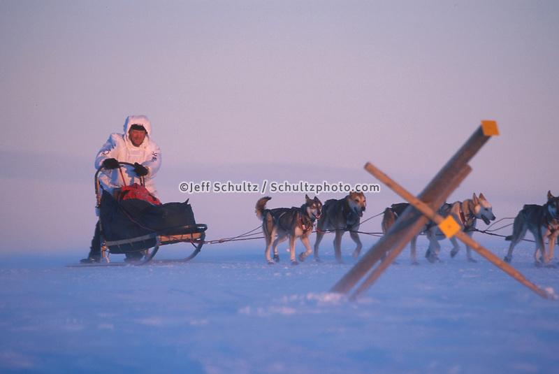P Gebhardt in Wind Storm Darby Mts 2000 Iditarod AK.Near Golovin